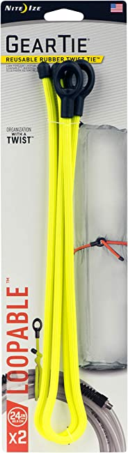 Nite Ize Gear Tie Loopable, The Original Reusable Rubber Twist Tie With Sturdy Integrated Loop, 24-Inch, Neon Yellow, 2 Pack,