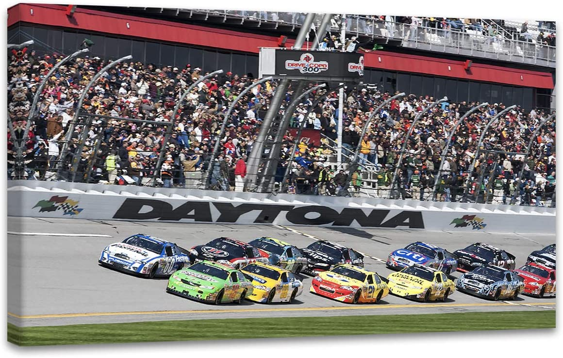 Amazon Com Miauen Daytona International Speedway Wall Art Nascar Wall Decor Home Decorations Motor Racing Painting Canvas Prints Poster Framed Ready To Hang 28 Wx 16 H Everything Else