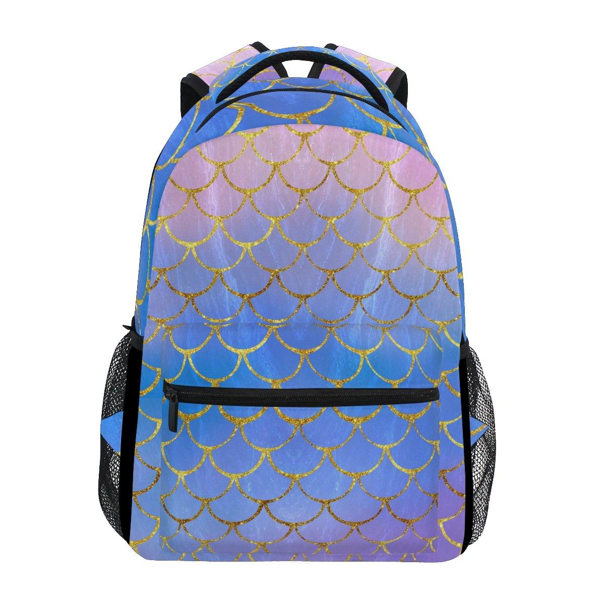 6e0a7d6ed58 ZOEO Girls Backpacks Purple Mermaid Scales Gold Marble Kids School Bookbags  Travel Laptop Daypack Bag Purse for Teens Women