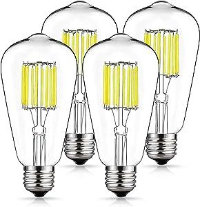Vintage LED Edison Bulb 100W Equivalent Daylight White 4000K, DORESshop No Dimmable 10W ST64 Antique LED Filament Light Bulb, E26 Base Squirrel-Cage Antique Lamp for Home Decor, Reading Room, 4Pack