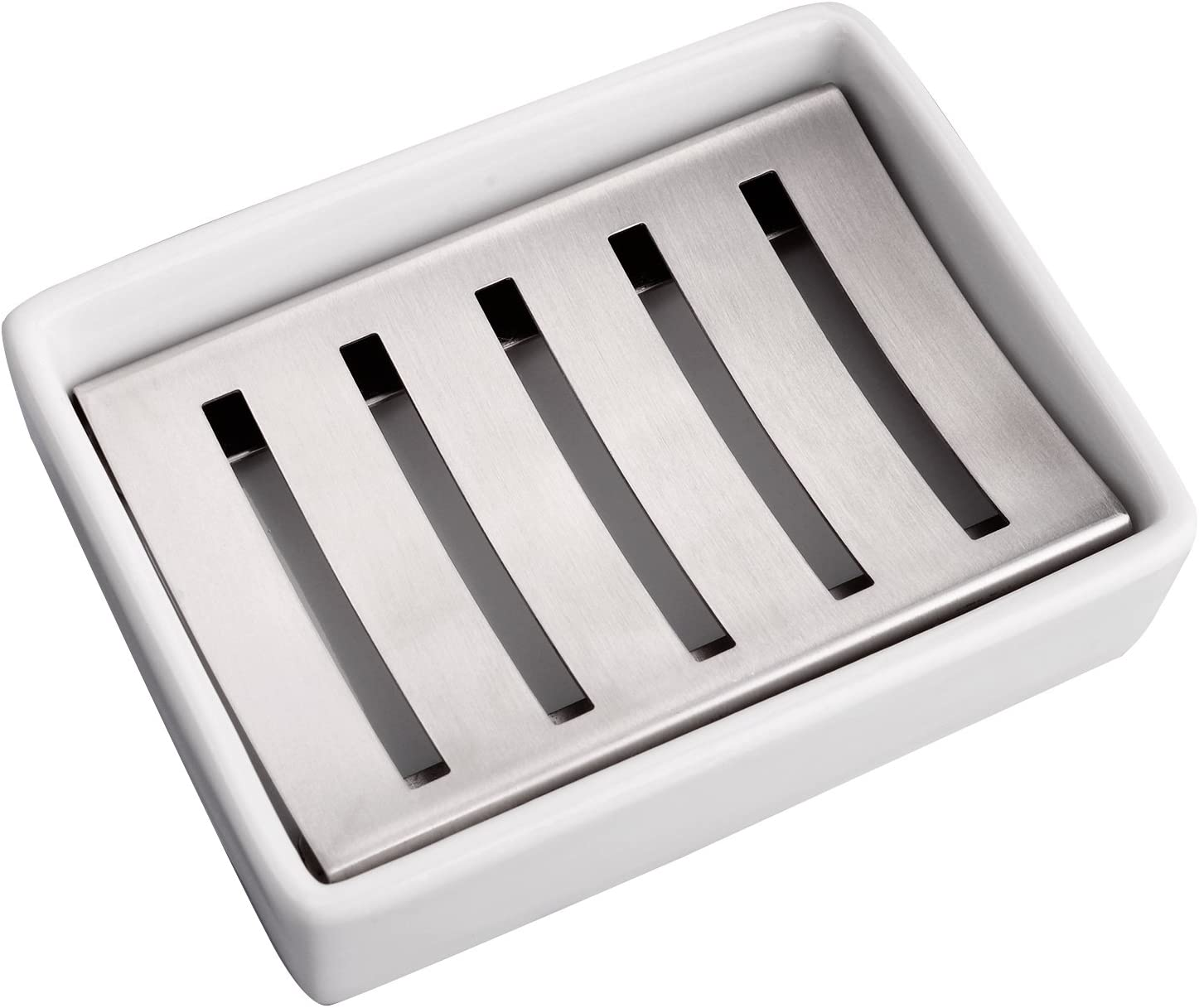 IMEEA® Jabonera de acero inoxidable con asiento de cerámica para baño, ducha elevador, cocina organizada