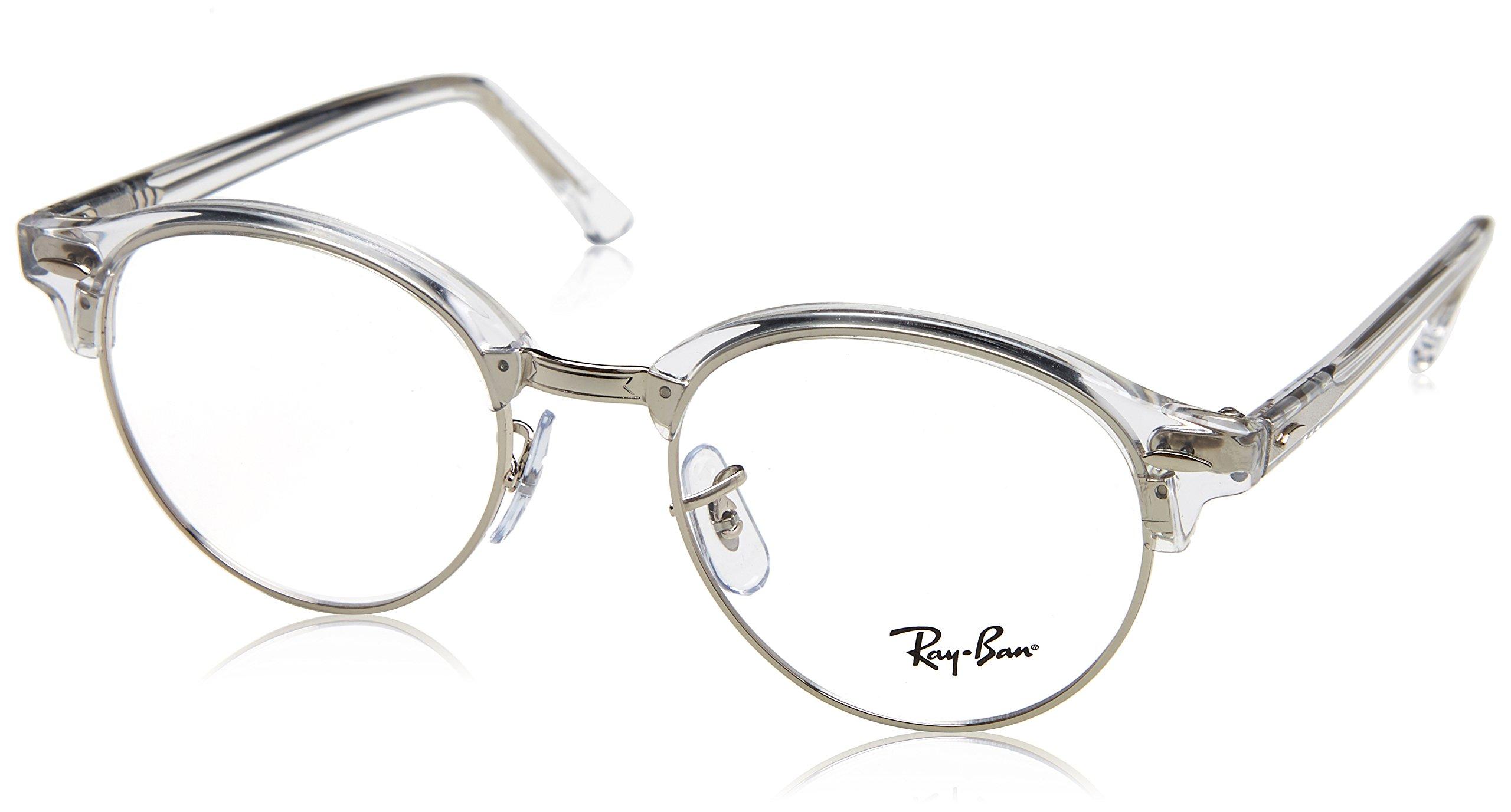 Ray-Ban RX4246V Clubround Eyeglass Frames, White Transparent/Demo Lens, 49 mm