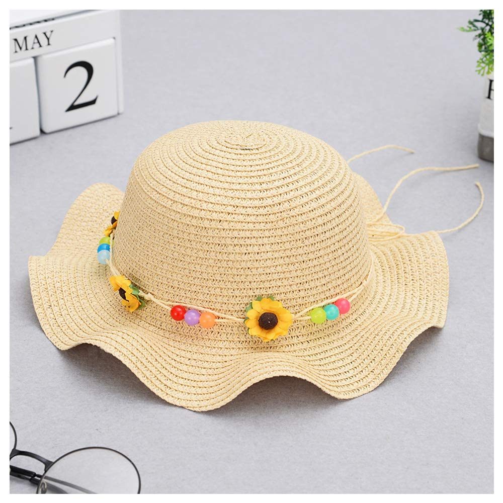 QTKJ Girls Boys Anti-UV Sun Straw Hat Wide Brim Sunflower Beach Hat with Multi-Colors Beads Decorative Summer Cap Beige