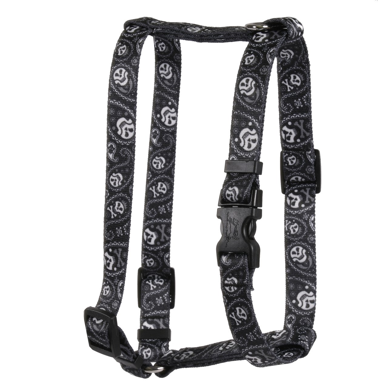Yellow Dog Design Paisley Skulls Black Roman Style H Dog Harness, X-Small-3/8 Wide fits Chest of 8 to 14''