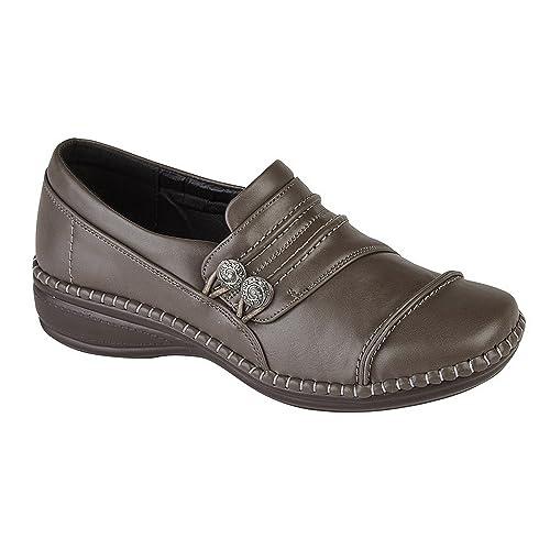 Zapatos de cuero y velcro para trabajo, cómodos, anchos con ajuste EEE; para mujer