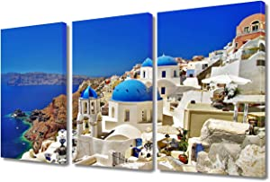 TUMOVO Blue and White Bedroom Wall Decor Aegean Pictures Greece Europe Paintings 3 Panel Artwork Santorini Canvas Print Home Decor for Living Room Framed Ready to Hang Posters and Prints, 36