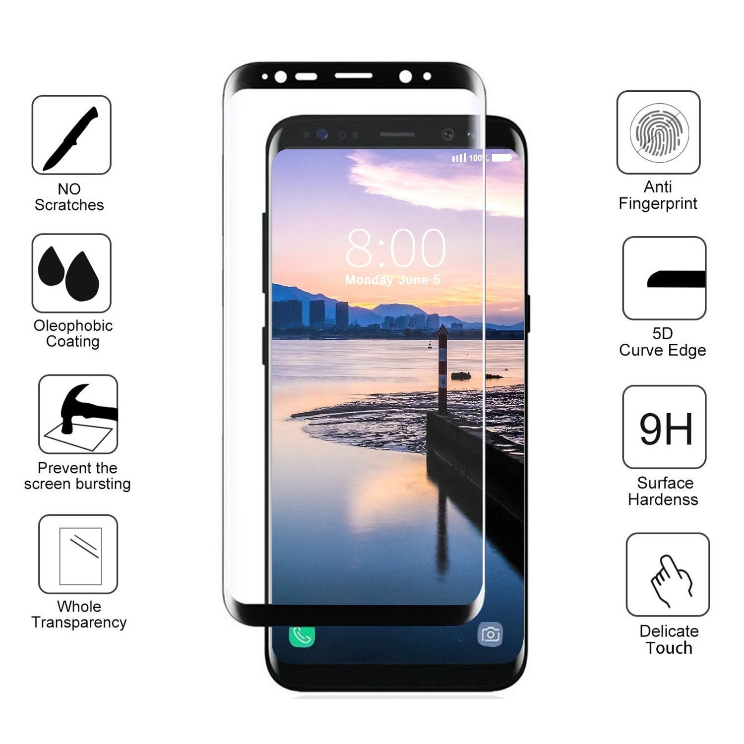 LEDitBe Galaxy S9 Screen Protector, Full Screen Tempered Glass Screen Protector Film, Edge to Edge Protection Screen Cover Saver Guard for 3D 9H Hardness Samsung Galaxy S9 Black by LEDitBe (Image #2)
