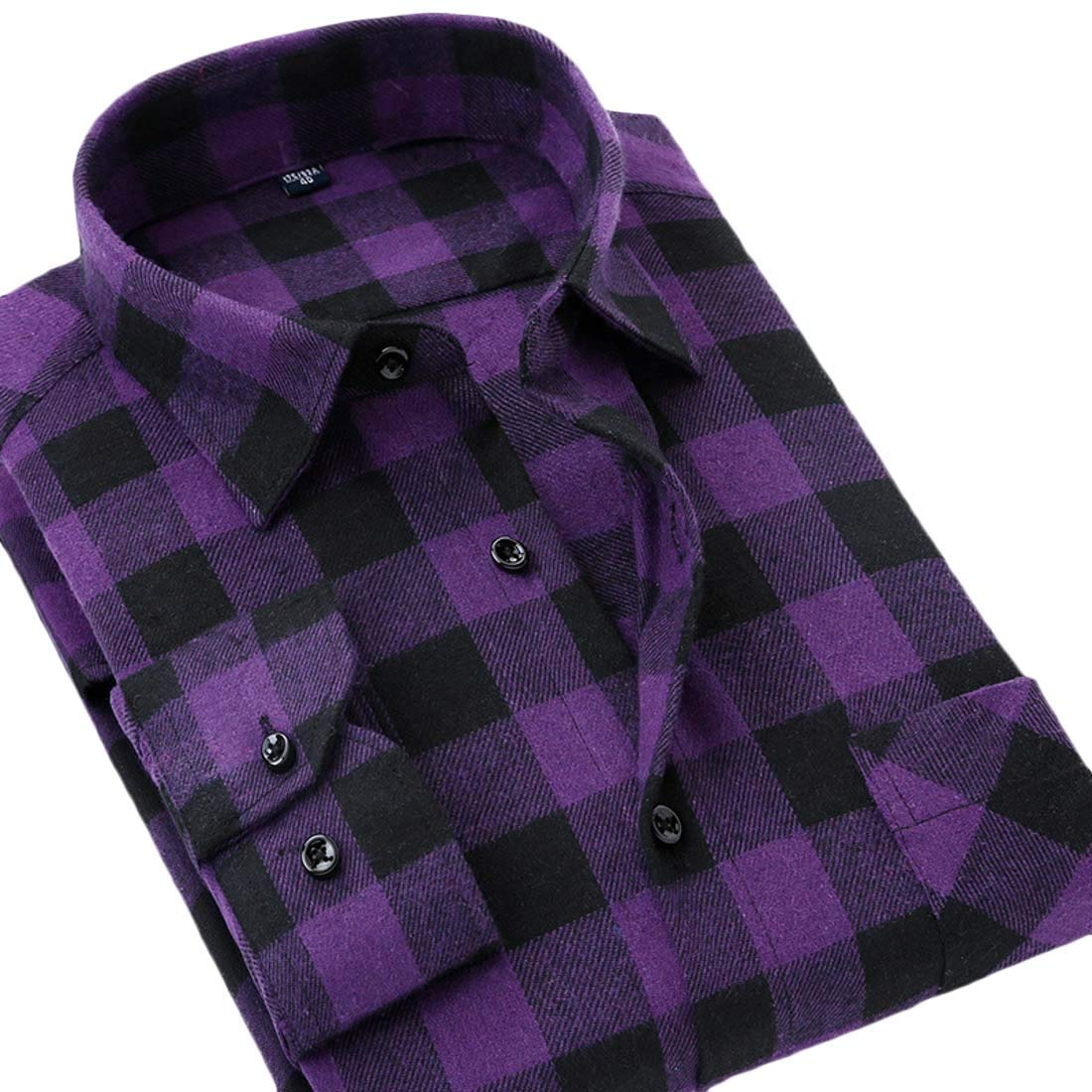 Fubotevic Men Plaid Print Cotton Long Sleeve Casual Button Up Dress Flannel Checkered Shirt