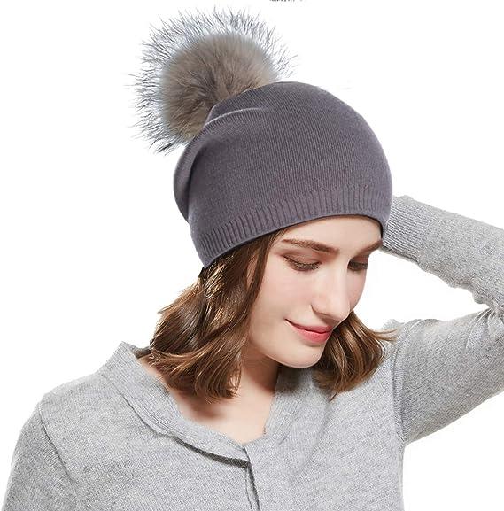 Femme Chapeau d/'Hiver Doublure Chaude Tricot Beanie amovible en fausse fourrure bulle ski
