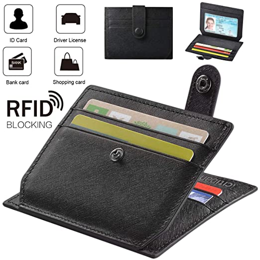 f0f914c581a60 Wallet Slim Genuine Leather RFID Blocking Wallet- Men Women Genuine Leather  Purse Card Case Holder