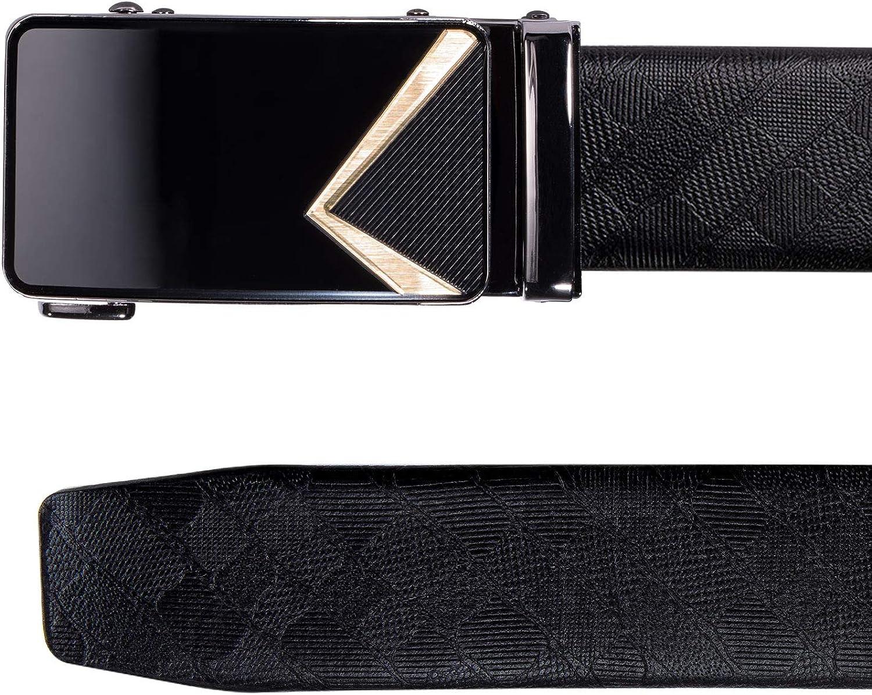 Dubulle Cintur/ón de trinquete deslizante de lujo de cuero genuino italiano con hebilla autom/ática para hombre