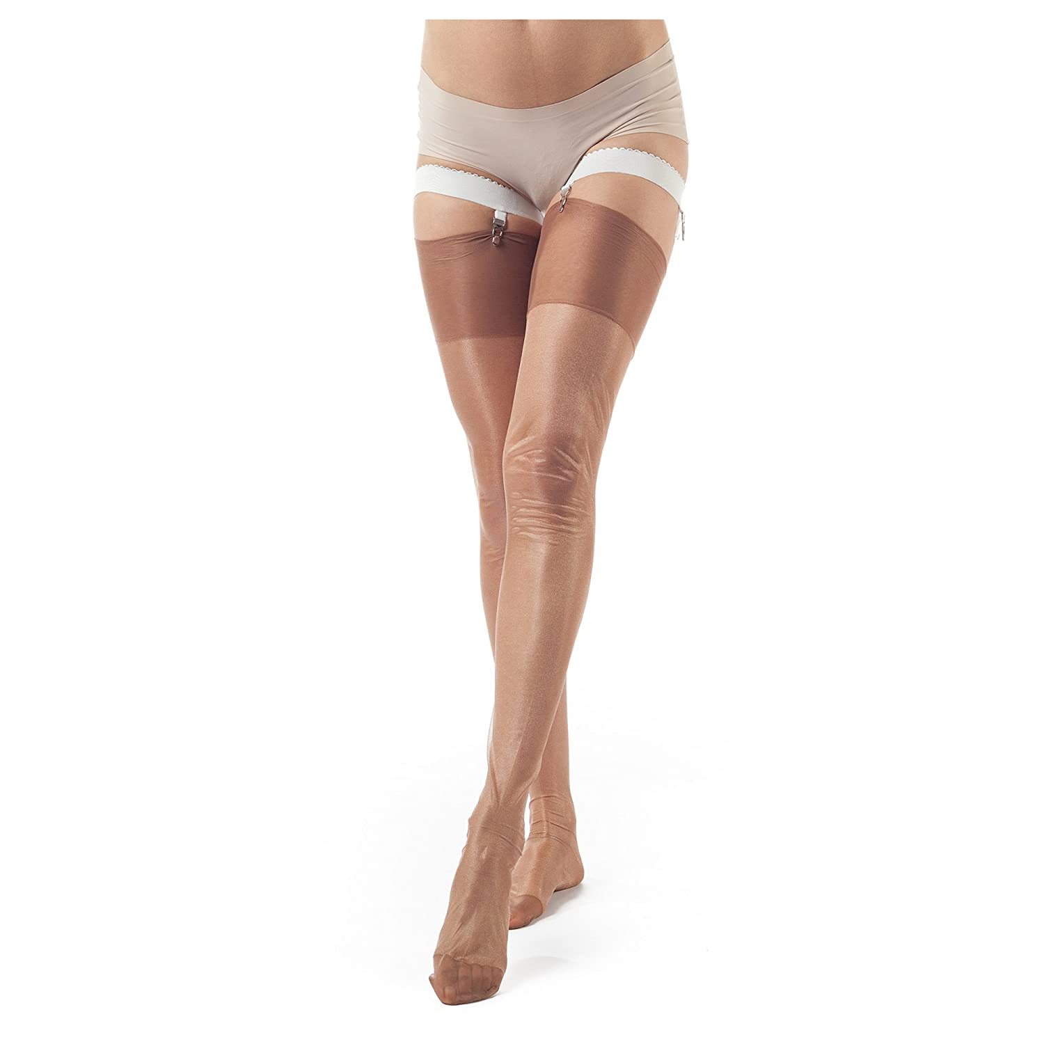 ElsaYX Women's Classic Pure Nylon Glossy Thigh High Stockings for use with Garter Belt Lingerie