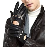 ZLUXURQ Mens Smart Soft And Thin Excellent Quality Italian Lambskin Touch Screen Leather Driving Gloves
