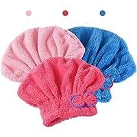AUTOWT Envoltura de toallas para el cabello, 3 Piezas paquetes para secar el cabello Ultra suave ultra absorbente, lindo…