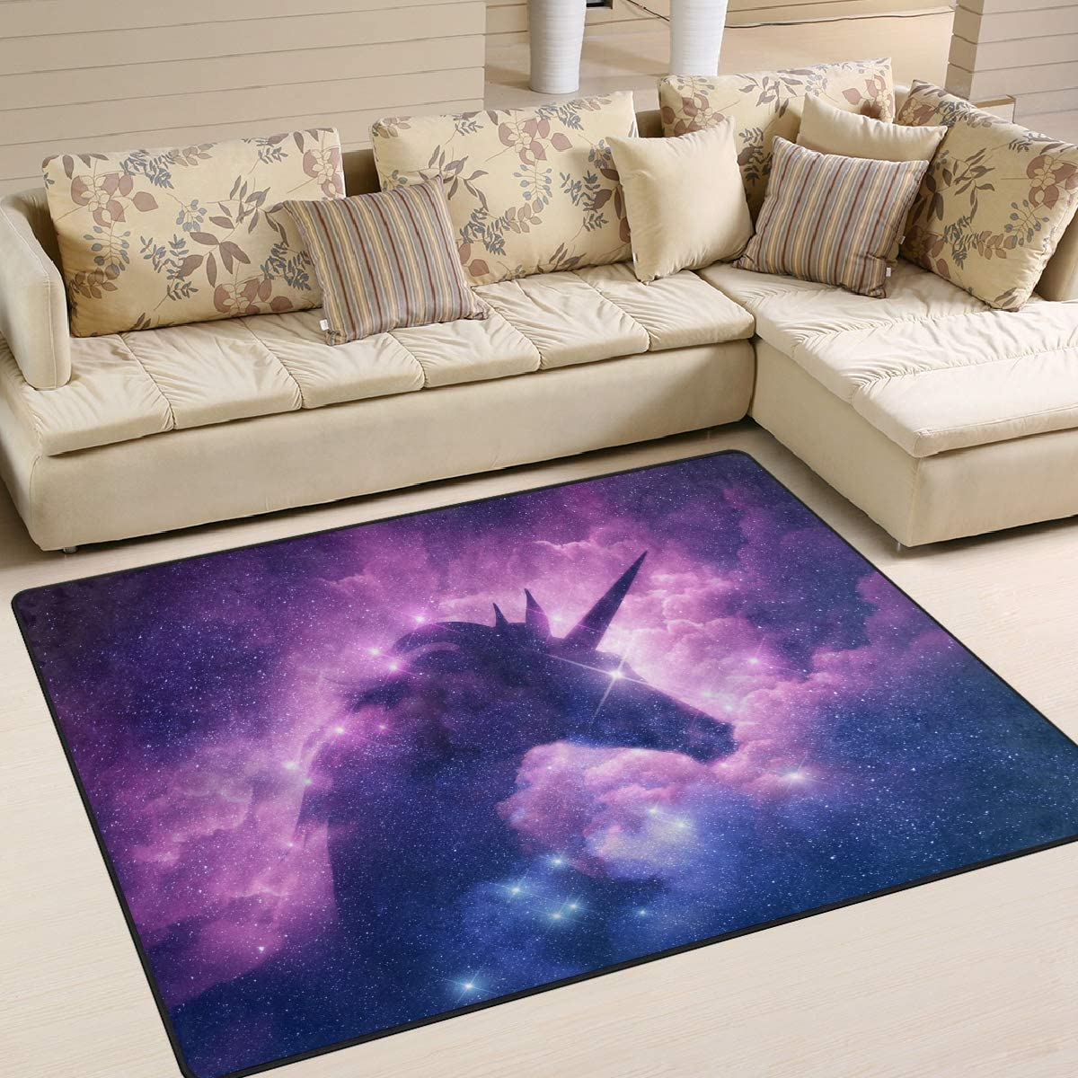 TropicalLife Abstract Galaxy Space Unicorn Area Rug 4 x 5 Mat Home Decor for Bedroom Dorm Living Room Dinning Room Kitchen Office