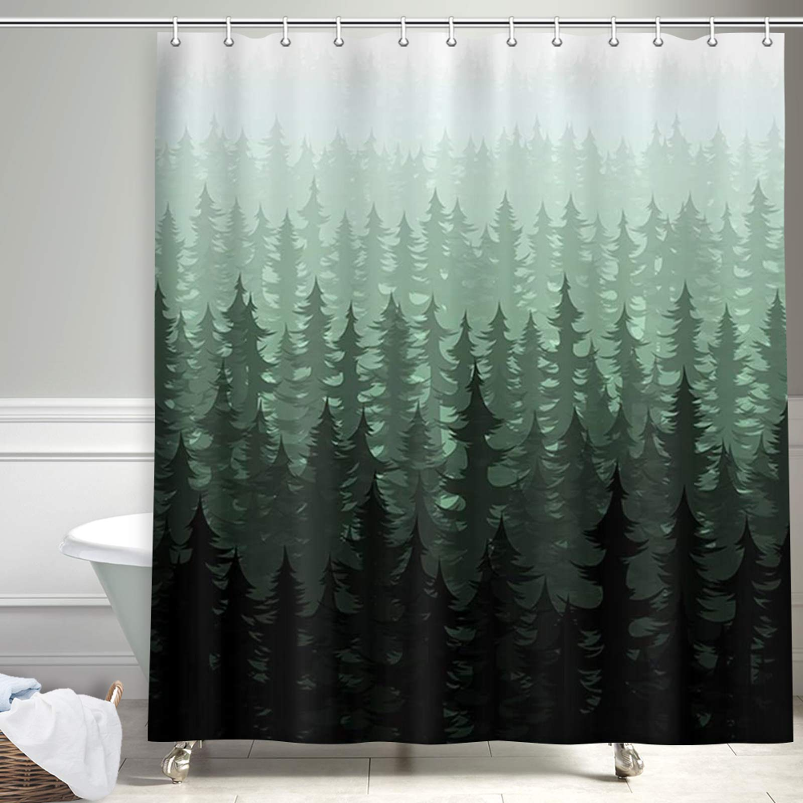 Mua Nymb Rustic Nature Forest Shower Curtain Watercolor Pine Trees Farmhouse Shower Curtains For Bathroom Fantasy Fog Woodland Polyester Fabric Shower Curtain Green Shower Curtain Hooks Includ 69x70in Tren Amazon Má»¹ Chinh Hang