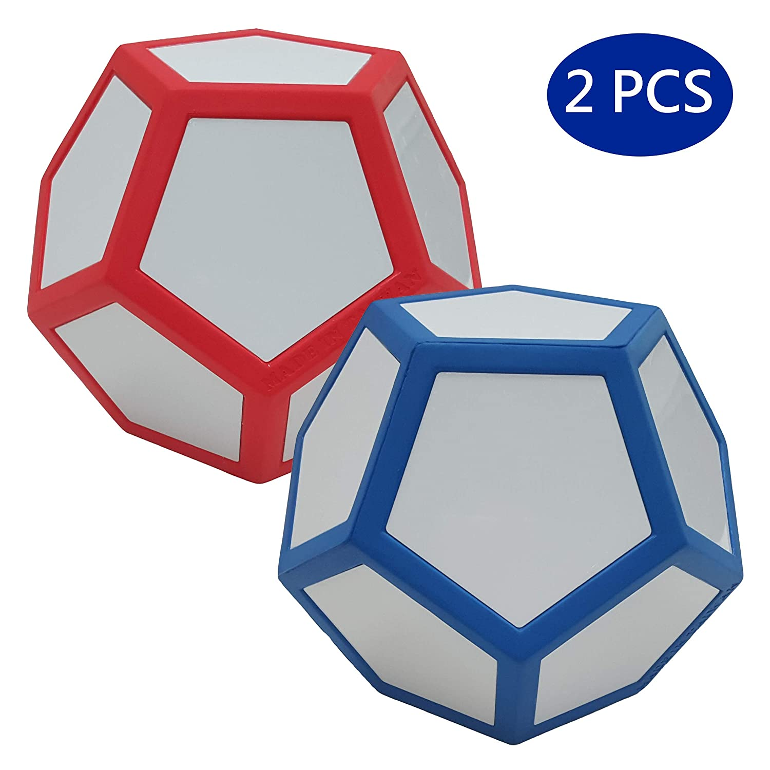 Red & bluee Macro Giant 6.7 Inch Dry Erase Polyhedral Foam Dice, Jumbo, Set of 2, Black and Yellow, 12Sided, Parenting Activity, Kid Toy, Preschool, Math Learning, Team Games