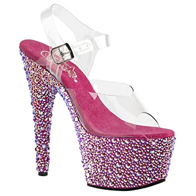 f244f69d89ab Summitfashions Womens Pink High Heels Platform Sandals Open Toe Shoes  Rhinestones 7 Inch Heels Size