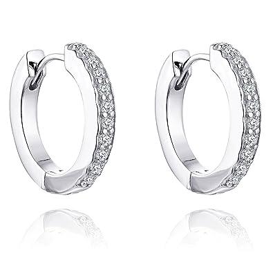 8581fdb0c063 YL Pendientes de aro de oro blanco de 0.28ct diamante 9ct para mujeres   Amazon.es  Joyería