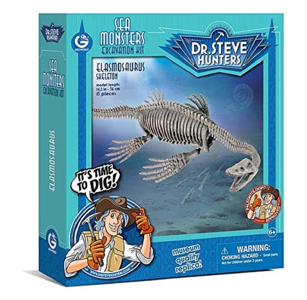 Geoworld 625276 - Dr. Steve Hunters: Dino Ausgrabungs-Set - Elasmosaurus-Skelett, Alter: 6+, Größe: 37 cm Größe: 37 cm CL1685K Dinosaurier