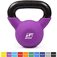 RitFit Neoprene Coated Solid Cast Iron Kettlebell - Great for Full Body Workout, Cross-Training, Weight Loss & Strength Training (5/10/15/20/25/30/35/40/45/50 LB)