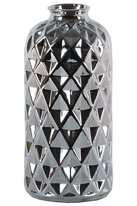 41a77d8accb Urban Trends 34253 Ceramic Round Vase with Short Neck Engraved Lattice  Diamond Pattern Design Body