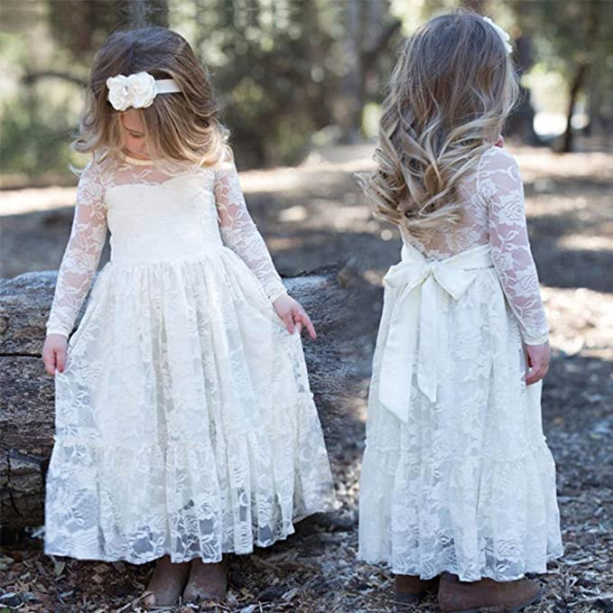 Girls Dress, Sonnena Toddler Kids Girls Dresses Long Sleeve Princess Dresses Lace Wedding Formal Dress Girls Party Outfit (6 years, White): Amazon.co.uk: ...