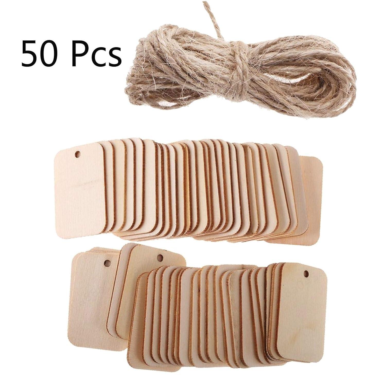 ALONGB Étiquette de Forme en Bois avec Corde (50 pcs) Embellissement pour Artisanat