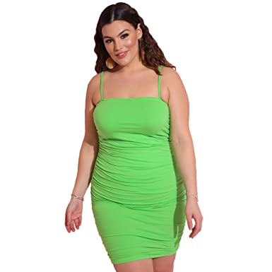 adb65b9c1a82 Rebdolls Women's Casual Ruched Spaghetti Strap Mini Dress - Plus Sizes at  Amazon Women's Clothing store: