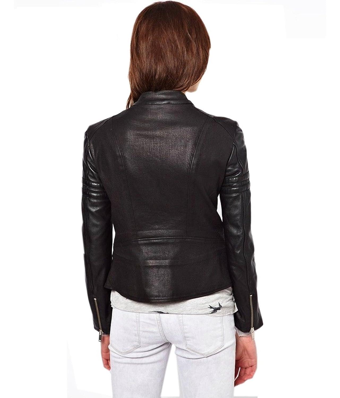 Leather Lifestyle Womens Stylish Lambskin Genuine Leather Motorcycle Biker Jacket Black #WJ27