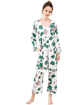 1c159b5558 SheIn Women's Cami & Pants Pajamas Set with Robe Sleepwear at Amazon ...