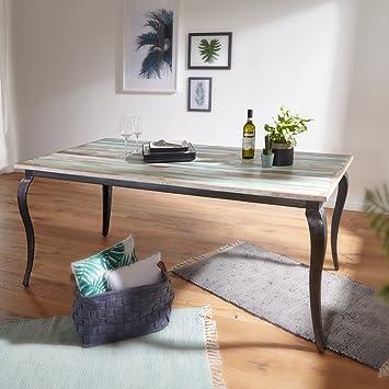 Wohnling Esstisch LINA Massivholz Shabby Chic 180x77x90 Cm Esszimmertisch  Modern | Design Küchentisch Massiv Groß |