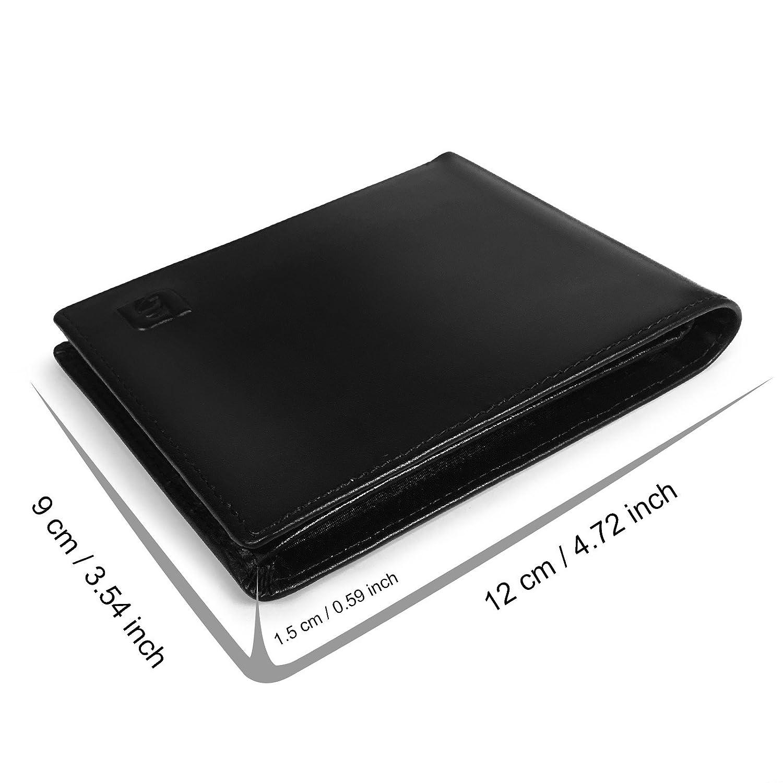 Lavievert Supple Genuine Leather Travel Bifold Wallet Mens RFID Blocking Slim Light-weight Wallet Black