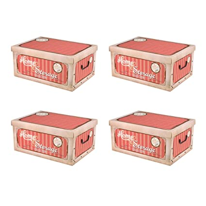 4cajas de cartón vintage con tapa para almacenar
