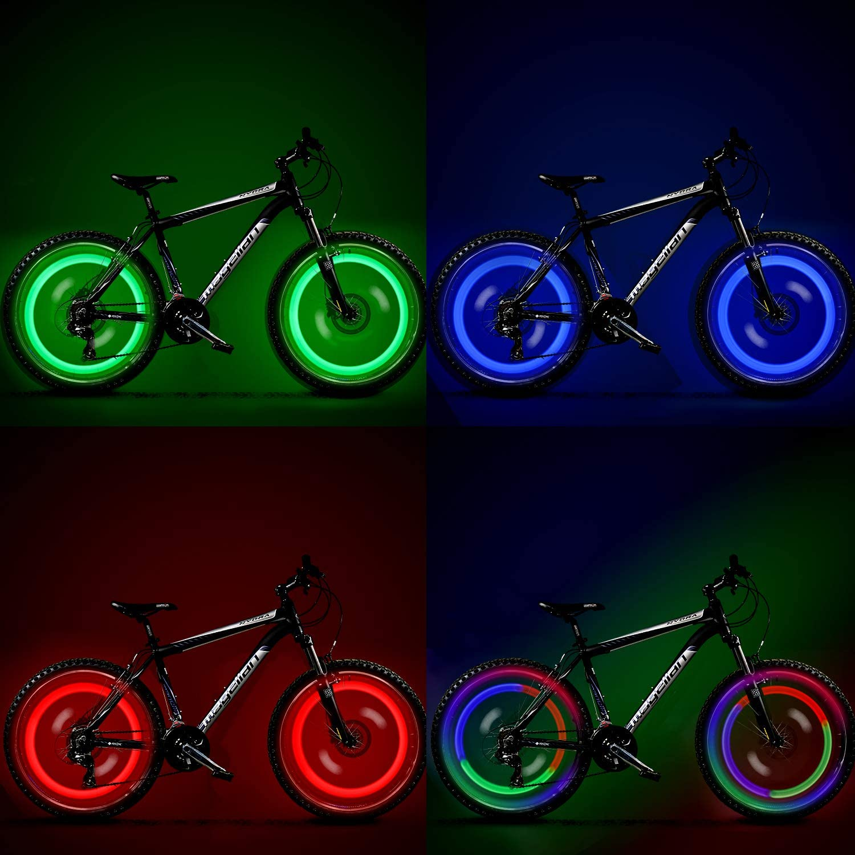 vimmor 8pcs Bike Bicycle LED Wheel Lights Valve Lamp Valve Core Light para Bicicleta para bicicleta de monta/ña Blue+Red+Green+Yellow