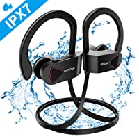 Mpow D8 Bluetooth Headphones, IPX7 Waterproof Sports Earphones w/Mic, HD Sound Secure Comfort Fit Metal Earbuds, 9 Hours Play Time for Running, Jogging, Cycling, Exercising