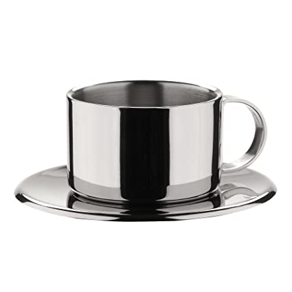 af293e312d4 Image Unavailable. Image not available for. Color: MIU France Stainless  Steel Espresso Cups & Saucers ...