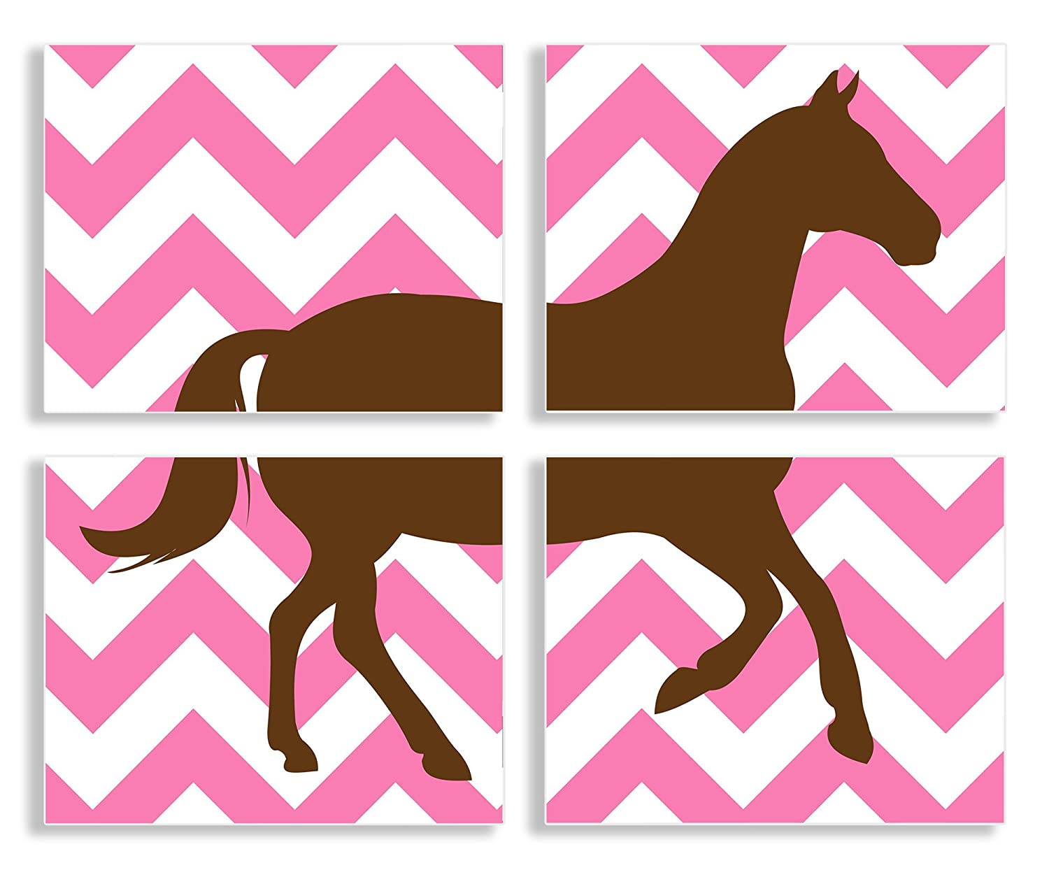 Proudly Made in USA The Kids Room by Stupell The Kids Room By Stupell Brown Horse Silhouette On Pink Chevron 4-Pc Rectangle Wall Plaque Set brp-1640 quad KIDTJ