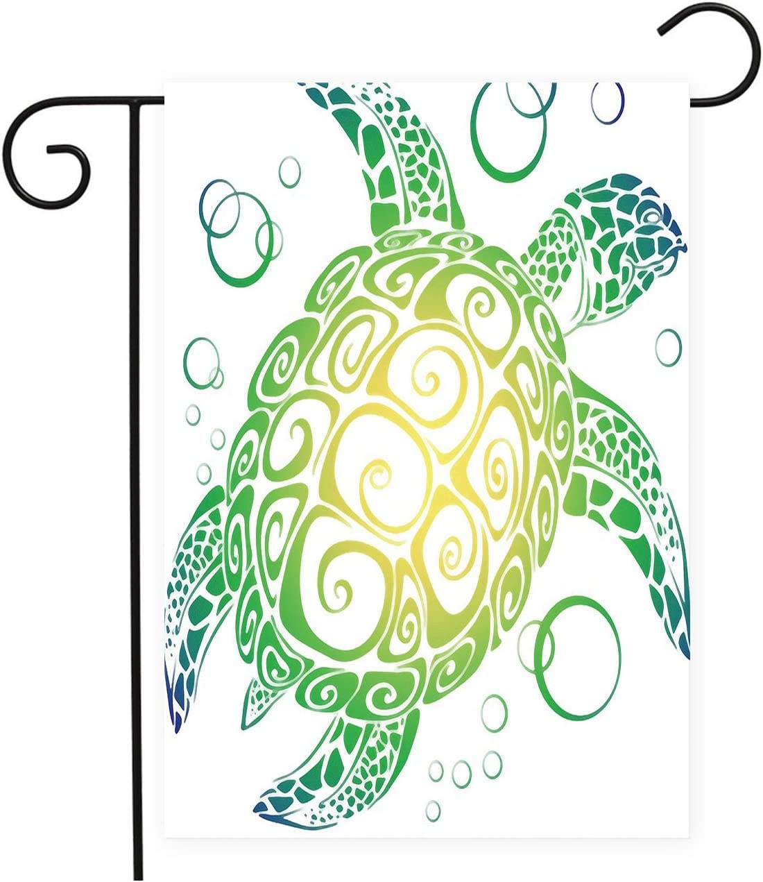 Gradiente mar tortuga jardín Patio Banderas decoración de la casa Mini Banner, 100% poliéster: Amazon.es: Hogar