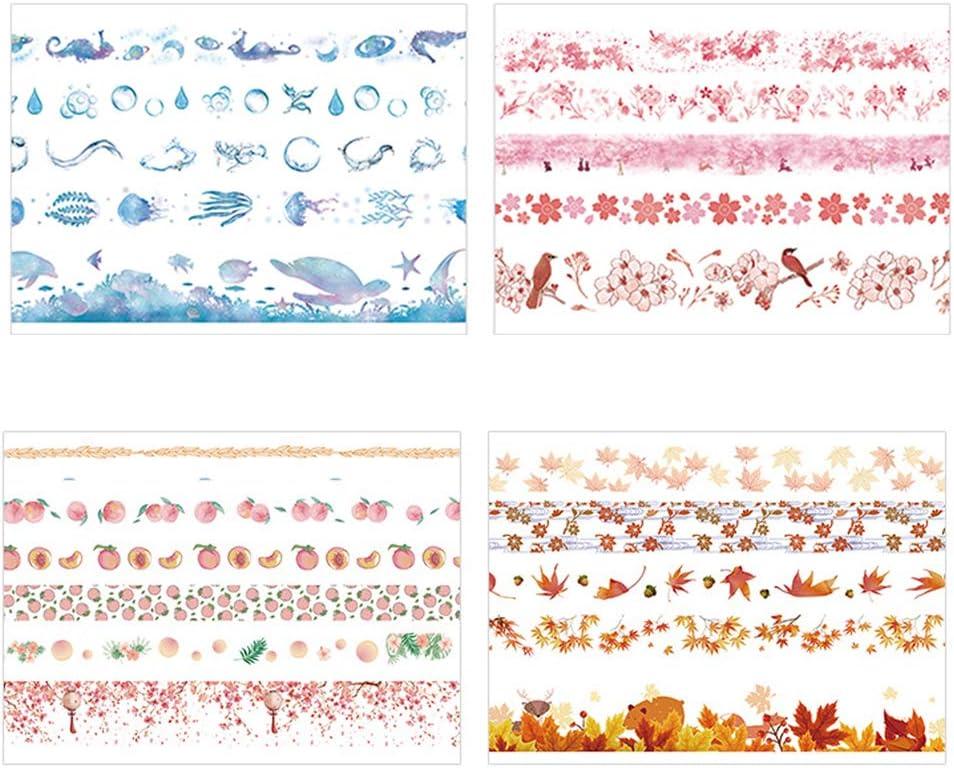 alignmentpai 5 Rolls Flower Leaves Washi Tape Set Stationery Gift Scrapbook Album Decoration 5