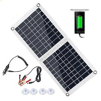 InLoveArts Cargador solar plegable, paneles solares de celdas de polietileno de 60 W, resistente al agua, portátil, USB, al aire libre, cargador de ...