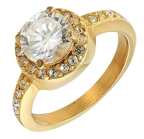 Adisaer - acero inoxidable anillos anillos de boda halo redondo Brilliant circonitas cúbicas redondo oro tamaño 7: Adisaer: Amazon.es: Joyería