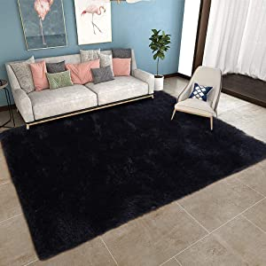 YOH Black Shag Area Rug Super Soft Modern Carpet for Living Room Bedroom Rug Home Decor(5.3x7.5,Black)
