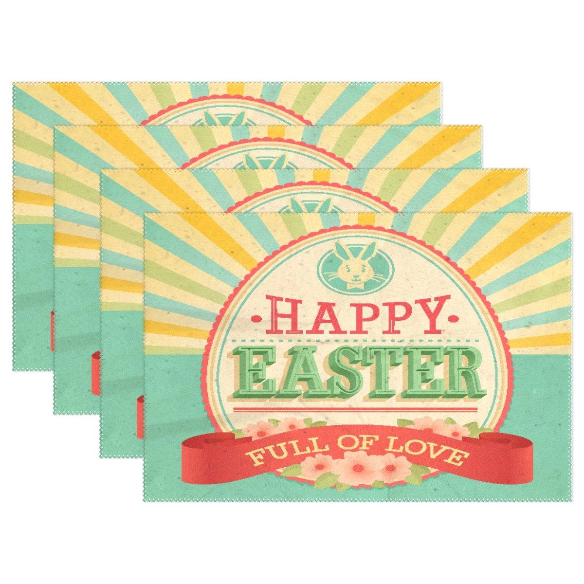 AlazaヴィンテージHappy Easter Flowers Placematプレートホルダーのセット1、ポリエステルテーブルの配置マットプロテクターキッチンダイニングルーム12