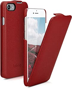 kalibri Flip Case Compatible with Apple iPhone 7/8 / SE (2020) - Ultra Slim Leather Protective Phone Cover - Red