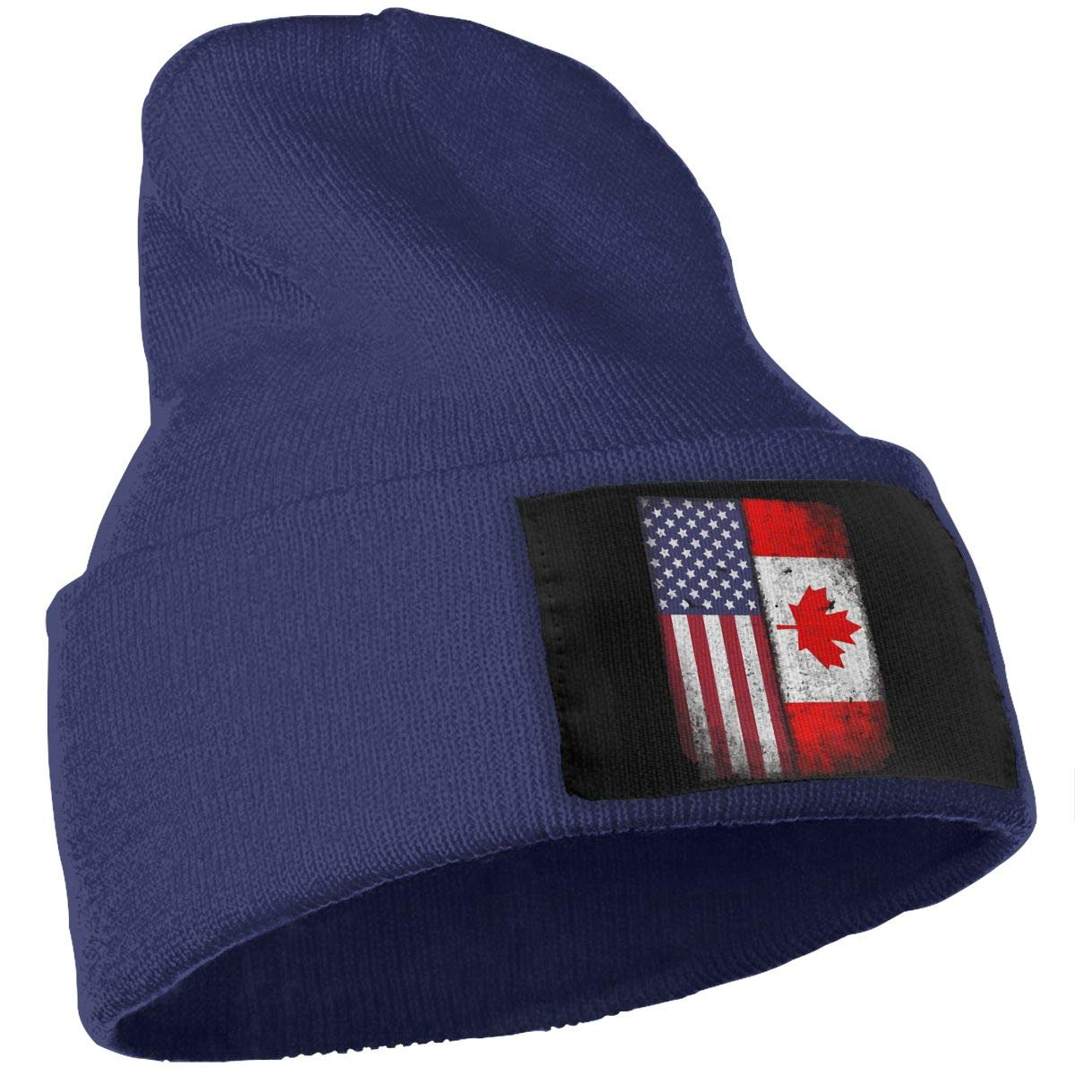 Canadian American Flag Warm Beanie Hat WHOO93@Y Mens Womens 100/% Acrylic Knitting Hat Cap