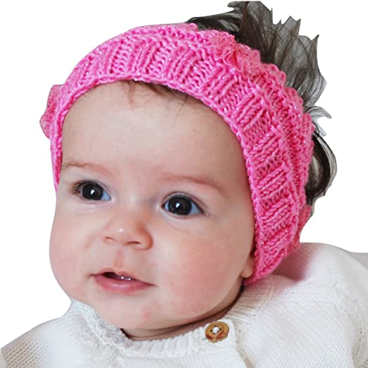 Amazon.com  Handmade Girls Ear Warmer Headband Winter Hand Knit with  Ballerina Bows by QueenMee  Clothing ce970a58979