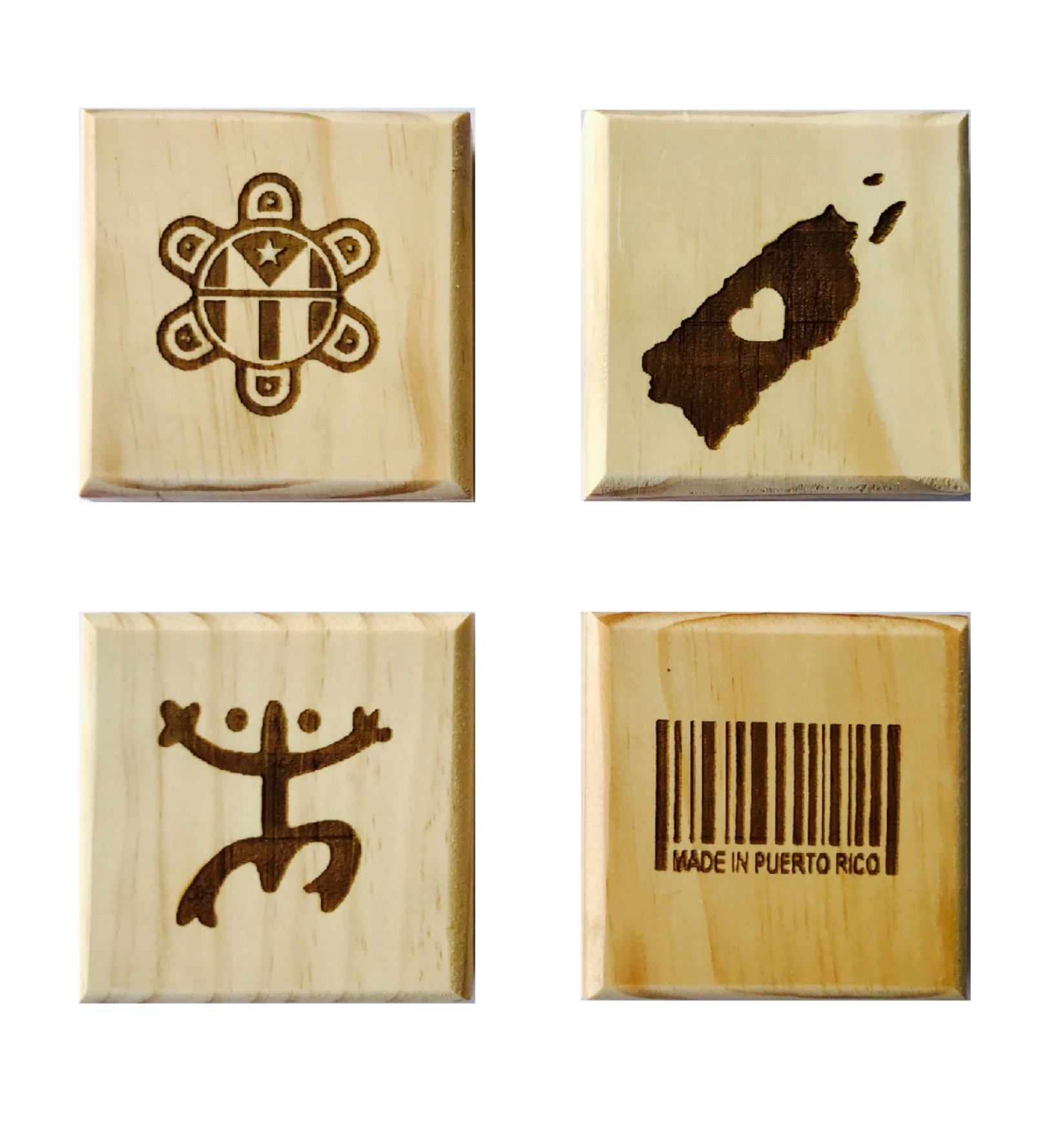 Puerto Rican Pride Coasters (by Brindle Designs): Permanent engraved gift set of 4 wood coasters. Coqui Symbol, Made in Puerto Rico Barcode, Map &, Taino Sun