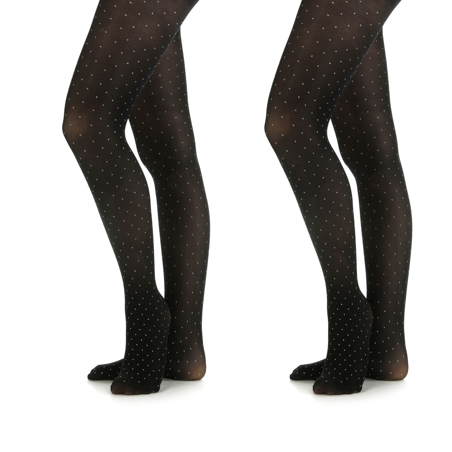 Silky Toes Microfiber Girls Opaque Footed Rhinestone Embellished Tights (Black/Silver, 8-10)