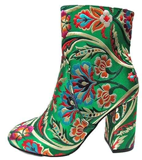 Anesha-3 Satin Embroidered Stitched Ankle High Low Block Heel Boot Green